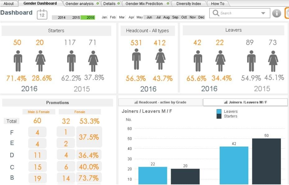 Human Resource Dashboard: Diversity Report