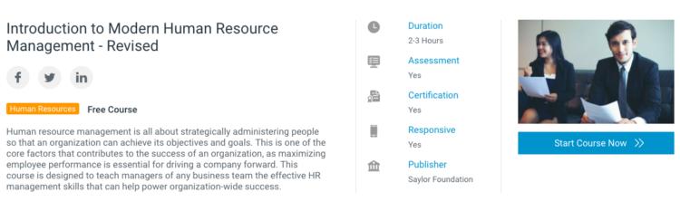Alison's online HR course