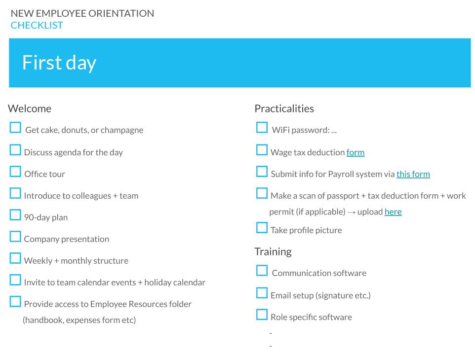 New employee orientation checklist - Day 1