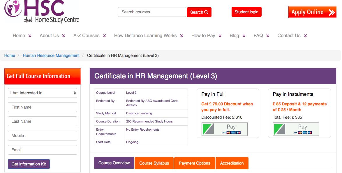 OHSC online HR course