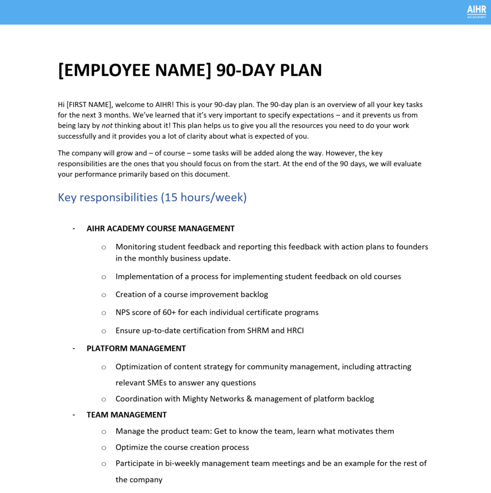 Onboarding 90 day plan part 1