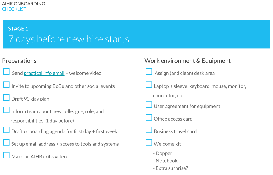 First phase of onboarding - pre-boarding checklist