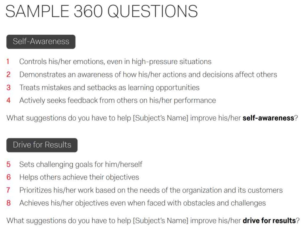 Sample 360 feedback competency questions