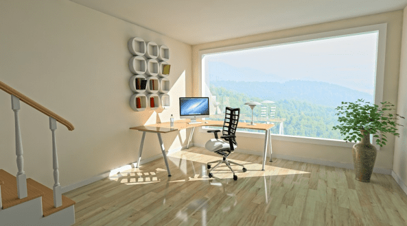 A home office corner
