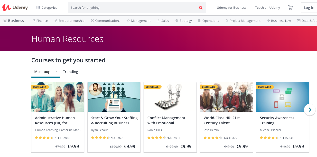 Online HR courses from Udemy